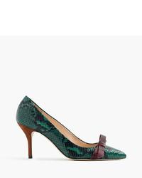 Zapatos de tacón de cuero con print de serpiente verde oliva de J.Crew