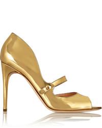 Zapatos de tacón de cuero con recorte dorados