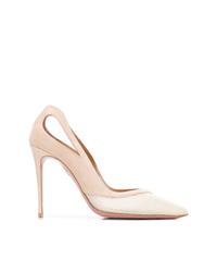 Zapatos de tacón de cuero con recorte en beige de Aquazzura