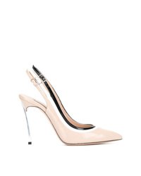 Zapatos de tacón de cuero con recorte en beige de Casadei
