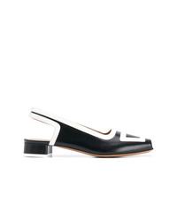 Zapatos de tacón de cuero con recorte en negro y blanco de Marni