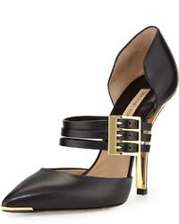 Zapatos de tacón de cuero con recorte negros de Michael Kors
