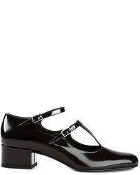Zapatos de tacón de cuero con recorte negros de Saint Laurent