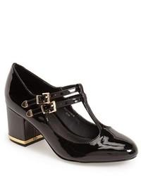 Zapatos de Tacón de Cuero con Recorte Negros de Topshop