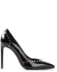 Zapatos de tacón de cuero con tachuelas negros de Saint Laurent