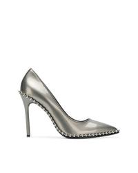 Zapatos de tacón de cuero con tachuelas plateados de Alexander Wang