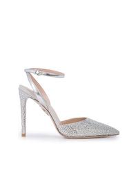 Zapatos de tacón de cuero con tachuelas plateados de Miu Miu