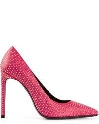 Zapatos de tacón de cuero con tachuelas rosa de Saint Laurent