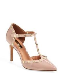 Zapatos de tacón de cuero con tachuelas rosados