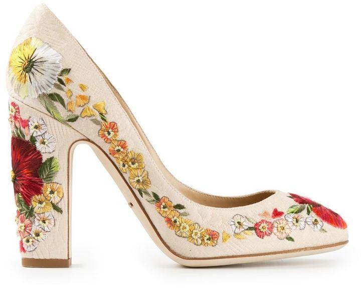 Tacón Dónde Dolce De amp; Flores Beige Gabbana Zapatos Cuero T5wgcZ
