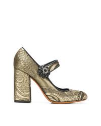 Zapatos de tacón de cuero dorados de Etro