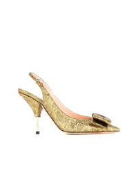 Zapatos de tacón de cuero dorados de Rochas