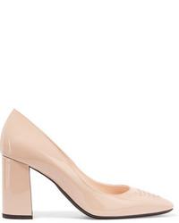 Zapatos de tacón de cuero en beige de Bottega Veneta
