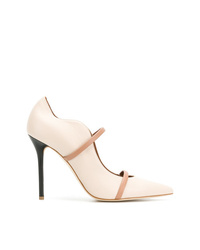 Zapatos de tacón de cuero en beige de Malone Souliers