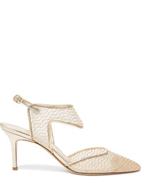 Zapatos de tacón de cuero en beige de Nicholas Kirkwood