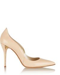 Zapatos de tacón de cuero en beige de Oscar de la Renta