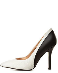 Zapatos de tacón de cuero en blanco y negro