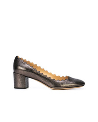 Zapatos de tacón de cuero en marrón oscuro de Chloé