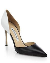 Zapatos de tacón de cuero en negro y blanco