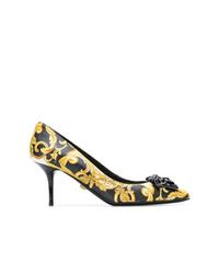 Zapatos de tacón de cuero en negro y dorado de Versace