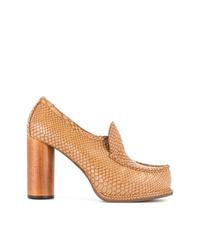 Zapatos de tacón de cuero en tabaco de Stella McCartney