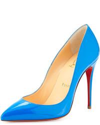 Zapatos de tacón de cuero en turquesa de Christian Louboutin