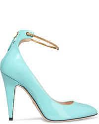 Zapatos de tacón de cuero en turquesa de Gucci