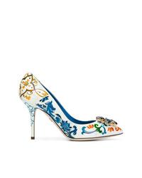 Zapatos de tacón de cuero estampados blancos de Dolce & Gabbana