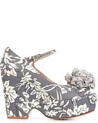 Zapatos de tacón de cuero estampados grises de Twin-Set