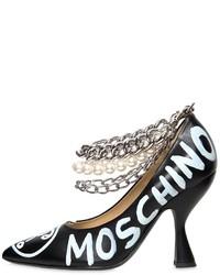 Zapatos de Tacón de Cuero Estampados Negros de Moschino