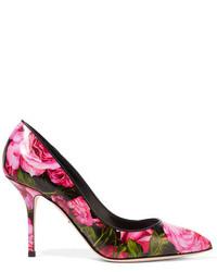 Zapatos de tacón de cuero estampados rosa de Dolce & Gabbana