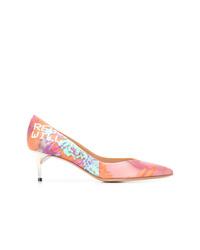 Zapatos de tacón de cuero estampados rosados de Maison Margiela
