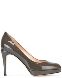 Zapatos de Tacón de Cuero Gris Oscuro de Fendi
