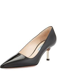 Zapatos de Tacón de Cuero Gris Oscuro de Prada