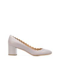 Zapatos de tacón de cuero grises de Chloé