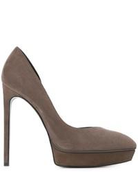 Zapatos de tacón de cuero grises de Saint Laurent