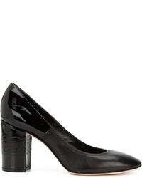 Zapatos de tacón de cuero gruesos negros de Casadei