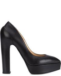 Zapatos de tacón de cuero gruesos negros de Vera Wang