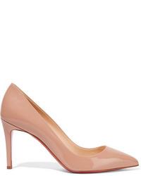 Zapatos de tacón de cuero marrón claro de Christian Louboutin