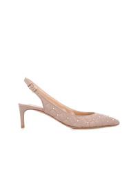 Zapatos de tacón de cuero marrón claro de Valentino