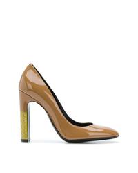 Zapatos de tacón de cuero marrónes de Bottega Veneta