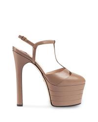 Zapatos de tacón de cuero marrónes de Gucci