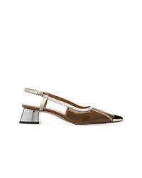 Zapatos de tacón de cuero marrónes de Marni