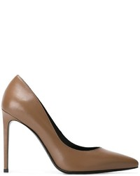 Zapatos de tacón de cuero marrónes de Saint Laurent
