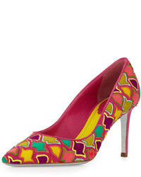 Zapatos de Tacón de Cuero Multicolor