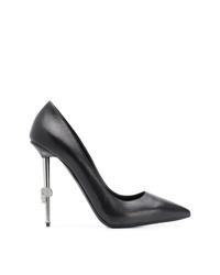 Zapatos de tacón de cuero negros de Philipp Plein