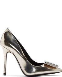 Zapatos de tacón de cuero plateados de Acne Studios
