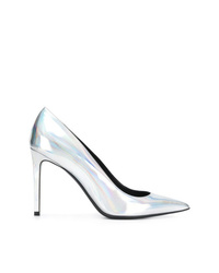 Zapatos de tacón de cuero plateados de Balmain