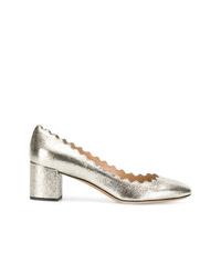Zapatos de tacón de cuero plateados de Chloé