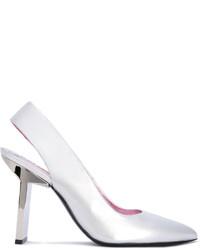 Zapatos de tacón de cuero plateados de Kenzo